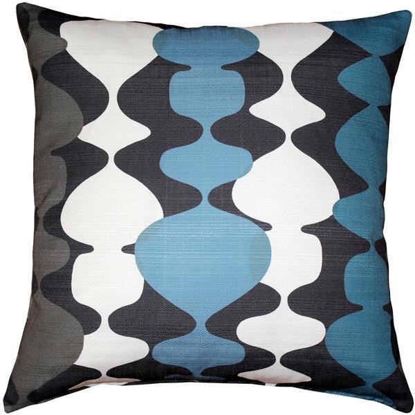 Lava Lamp Charcoal Blue 19x19 Throw Pillow