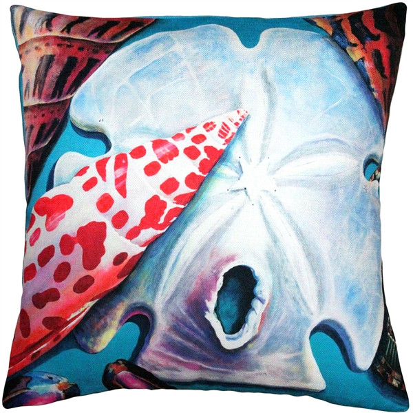 Newport Beach Arrowhead and Miter Shell Mix Throw Pillow 20x20