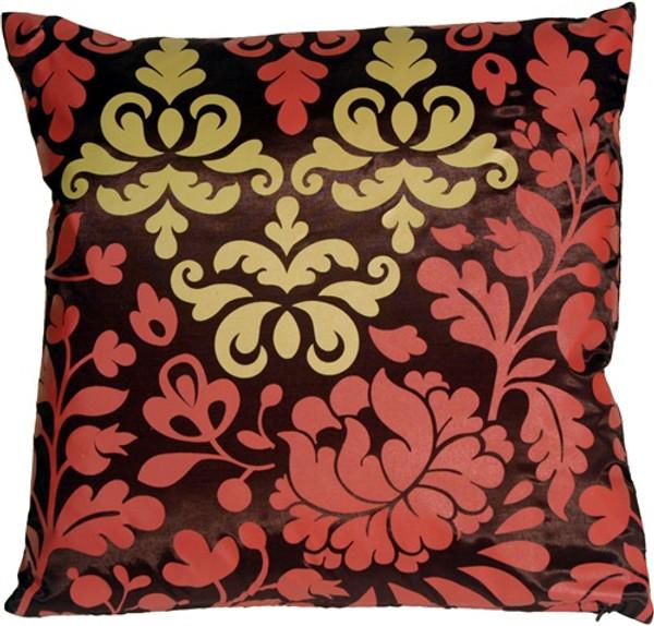 Bohemian Damask Brown, Red and Ocher Throw Pillow
