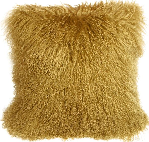 Mongolian Sheepskin Soft Gold 18x18 Throw Pillow