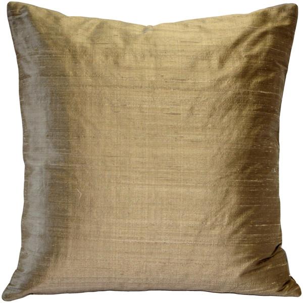 Sankara Gold Silk Throw Pillow 16x16