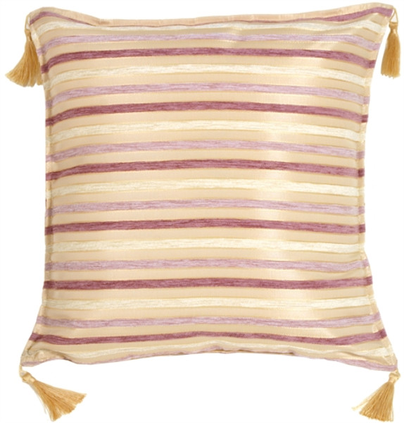 Chenille Stripes in Mauve and Cream Throw Pillow