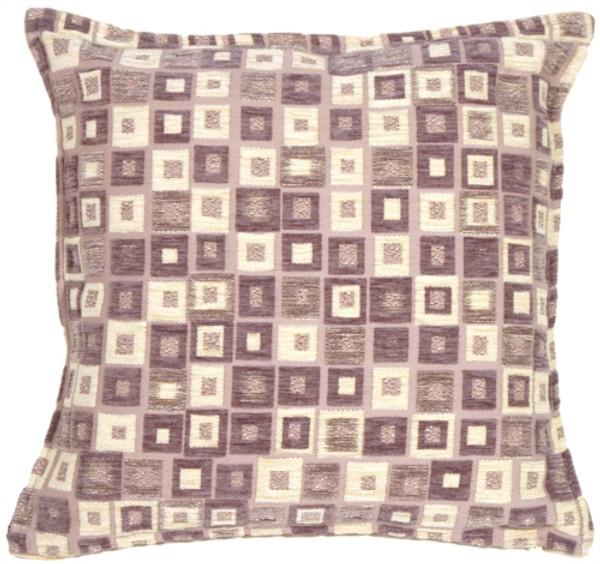Mauve and Cream Chenille Blocks Throw Pillow