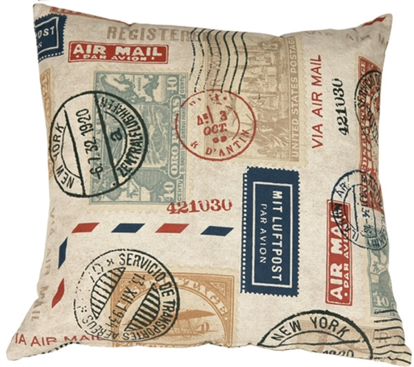 Vintage Postage Stamp Multicolor 18x18 Throw Pillow