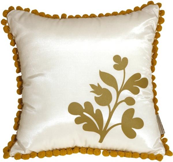 Bohemian Blossom, White and Ocher Throw Pillow