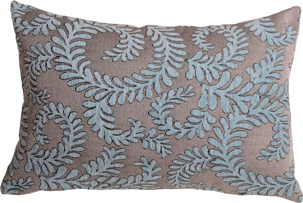 Brackendale Ferns Sea Blue Rectangular Throw Pillow