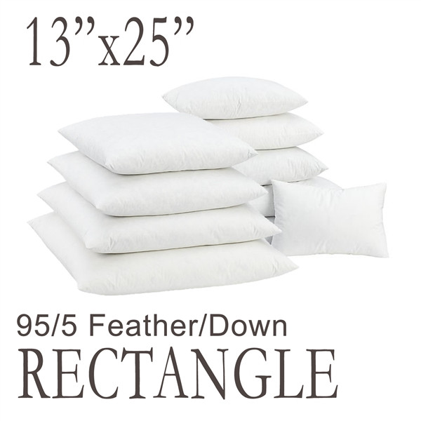 "13""x25"" Rectangular Feather Down Pillow Form"