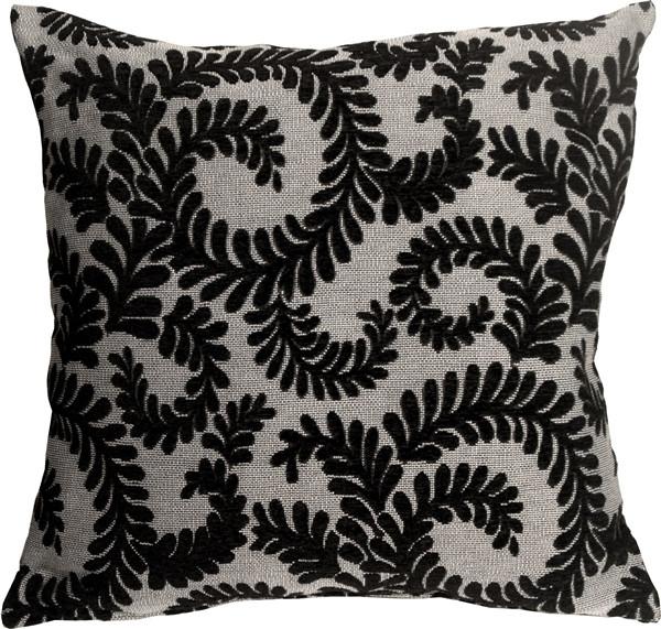 Brackendale Ferns Black Throw Pillow