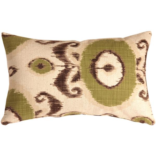 Bold Green Ikat 12x20 Throw Pillow