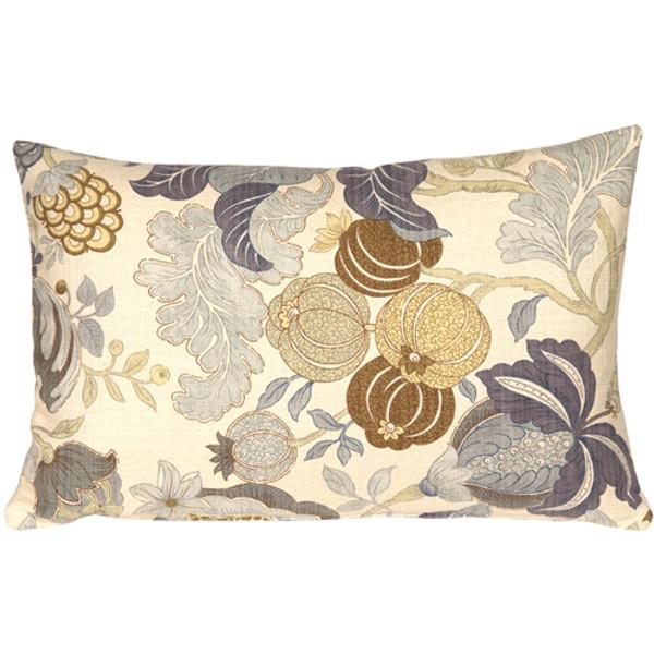 Harvest Floral Blue 16x24 Throw Pillow