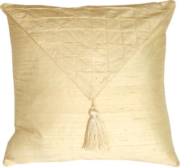 Dupioni Silk Cream 17x17 Envelope Throw Pillow