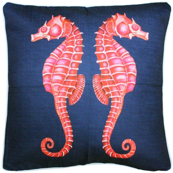 Sea Island Sea Horse Reflect Throw Pillow 20x20
