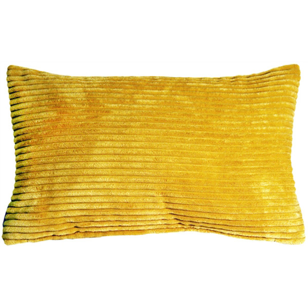Wide Wale Corduroy 12x20 Golden Yellow Throw Pillow