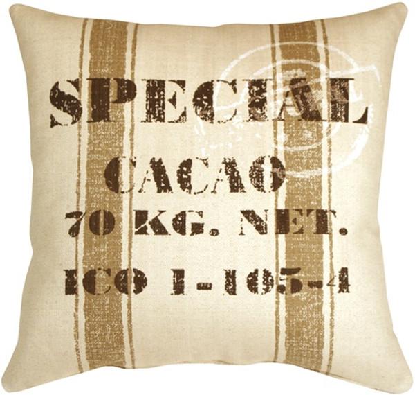 Cacao Bean Brown Print Throw Pillow