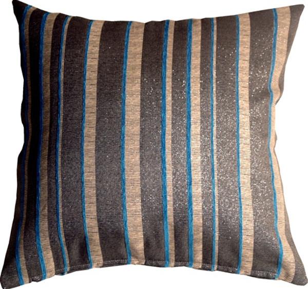 Sparkle Stripes 20x20 Blue and Gray Throw Pillow