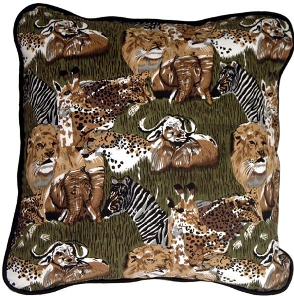 Safari Print Cotton Small Throw Pillow