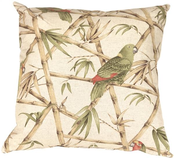 Bamboo Parrots 22x22 Throw Pillow