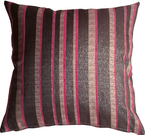 Sparkle Stripes 20x20 Pink and Gray Throw Pillow