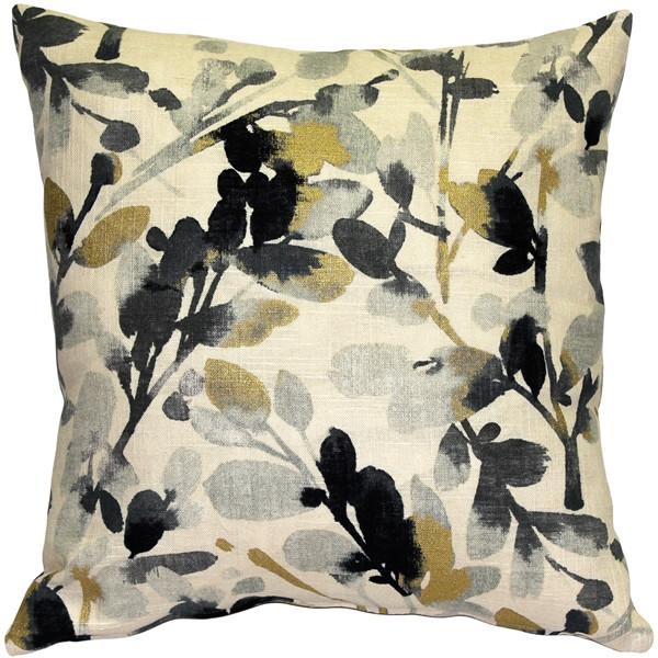 Linen Leaf Graphite Gray Throw Pillow 20x20