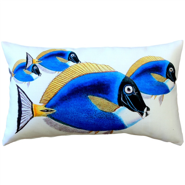 Blue Surgeonfish Fish Pillow 12x19