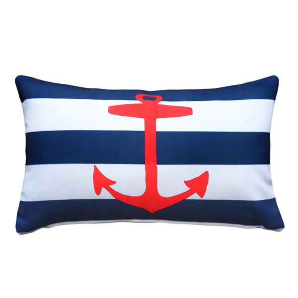 Red Anchor Nautical Throw Pillow 12x19