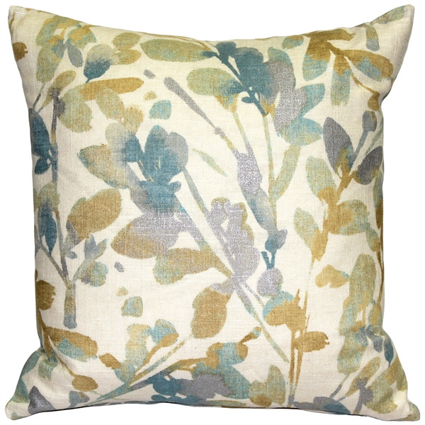 Linen Leaf Marine Throw Pillow 20x20