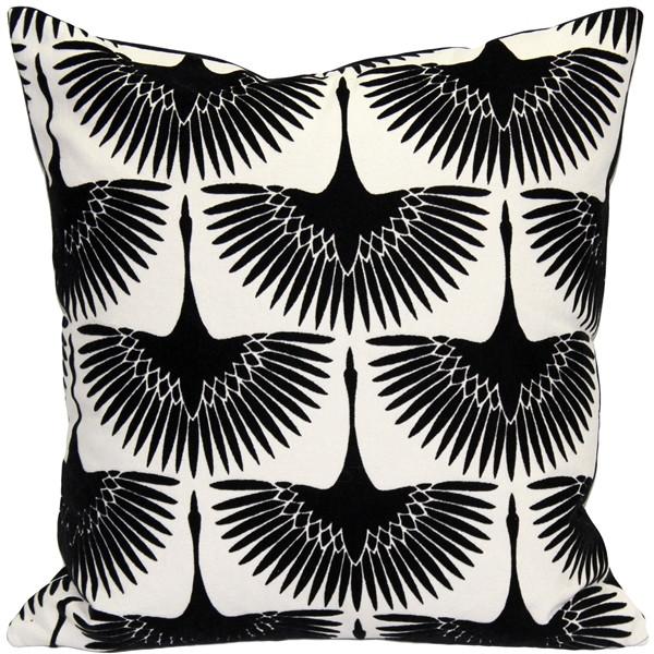 Winter Flock Black and White Throw Pillow 20x20