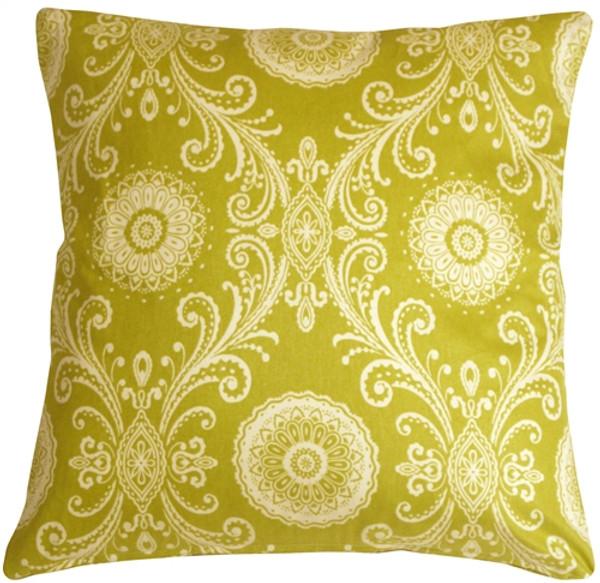 Filigree Green 17x17 Throw Pillow