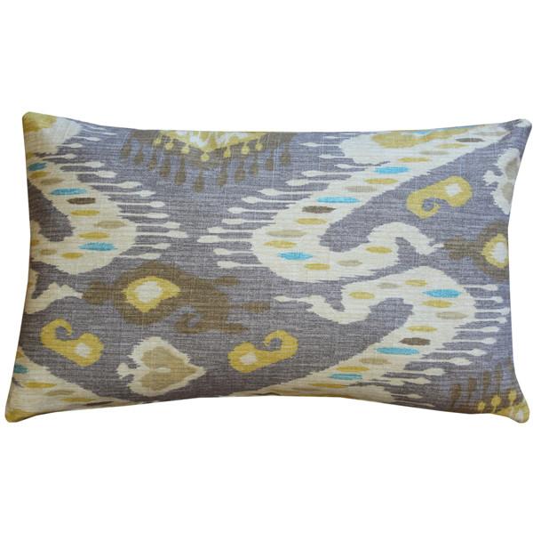 Solo Gray Ikat Throw Pillow 12x20