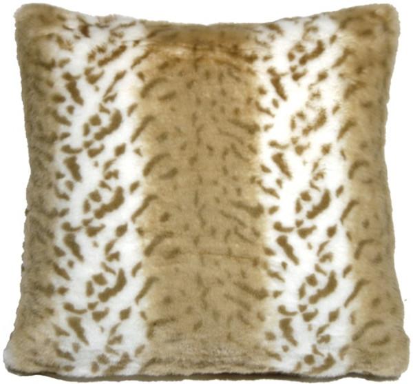 Tawny Lynx Faux Fur 20x20 Throw Pillow