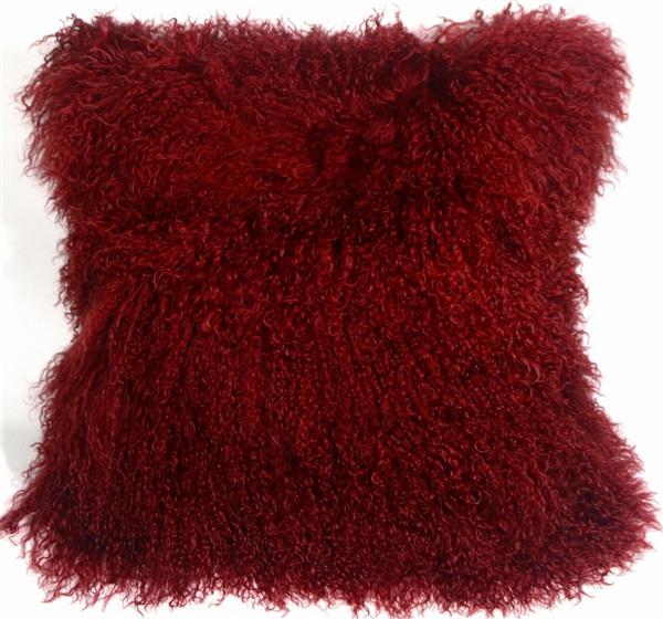 Mongolian Sheepskin Red Throw Pillow