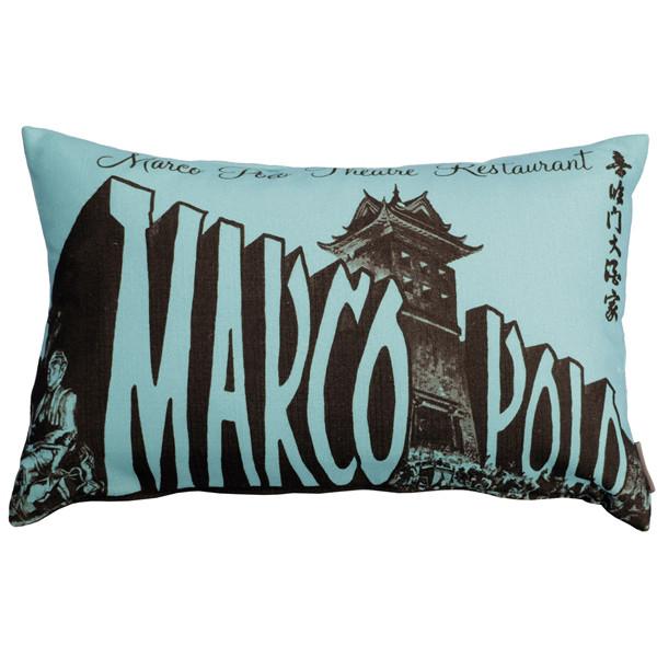 Marco Polo Theatre Restaurant 12x20 Blue Throw Pillow
