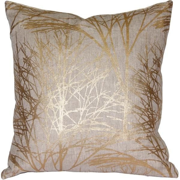 Forest Gold Linen Throw Pillow 19x19
