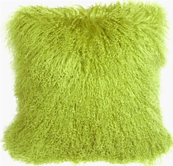 Mongolian Sheepskin Lime Green Pillow