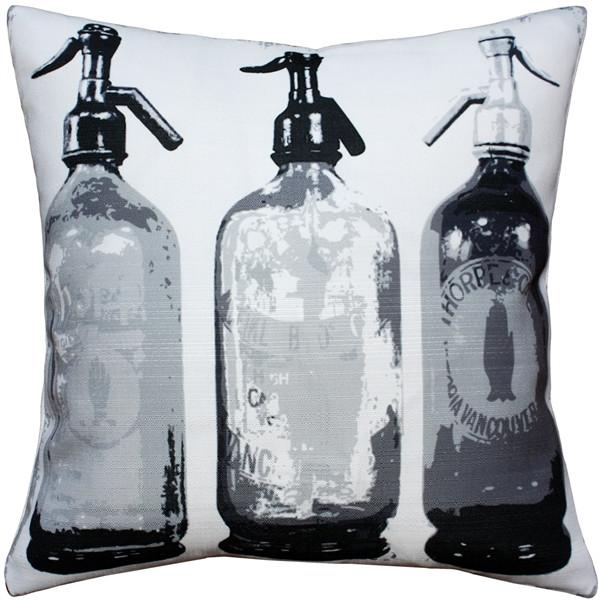 Seltzer Black and White Vintage Throw Pillow 20x20