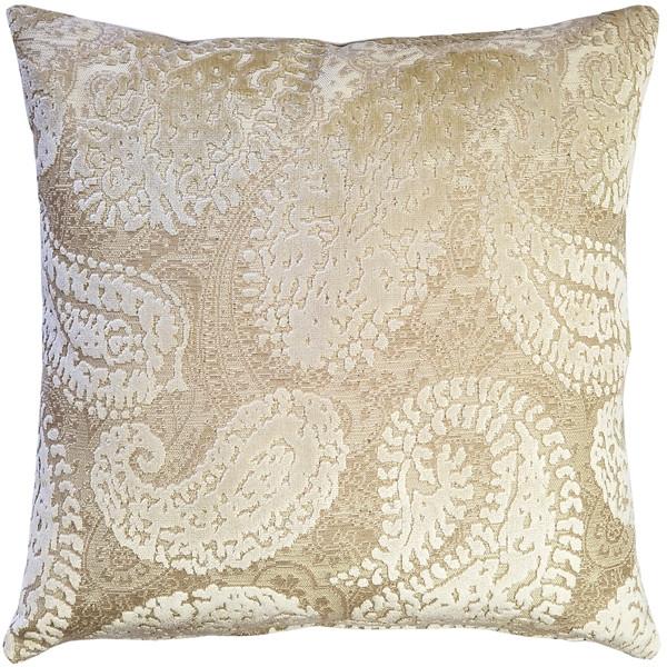 Rochelle Vanilla Paisley Velvet Pillow 20x20