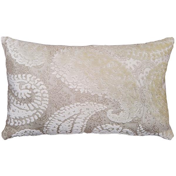 Rochelle Vanilla Paisley Velvet Pillow 12x20