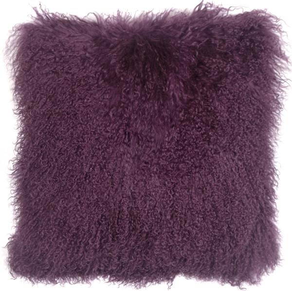 Mongolian Sheepskin Purple Throw Pillow