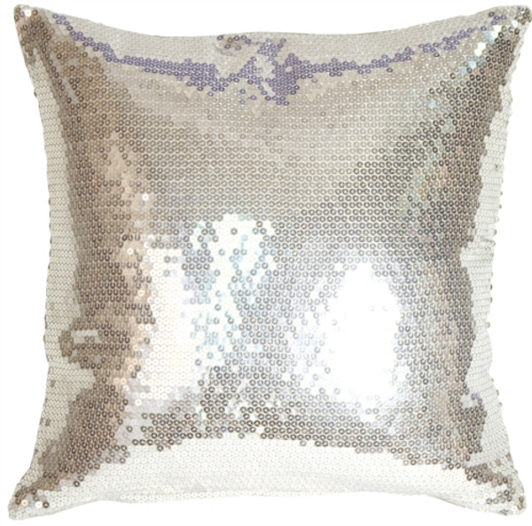 Silver Sequins Accent Pillow