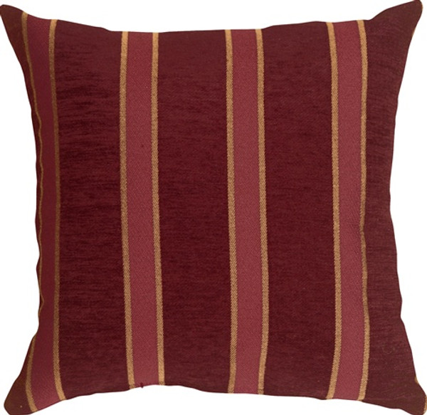 Traditional Stripes in Wine 19x19 Decorative Pillow
