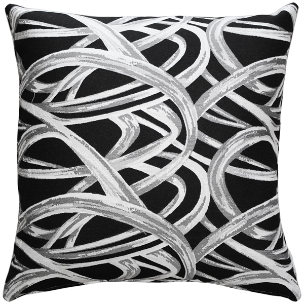 Flair 18x18 Black Throw Pillow