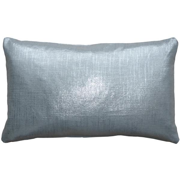 Tuscany Linen Silver Metallic 12x19 Throw Pillow