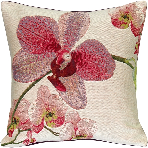 Pink Orchids French Tapestry Throw Pillow 19x19