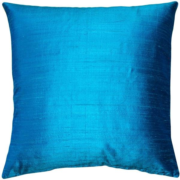 Sankara Peacock Blue Silk Throw Pillow 16x16