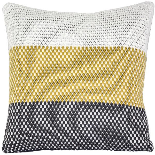 Hygge Tri-Stripe Yellow Knit Pillow