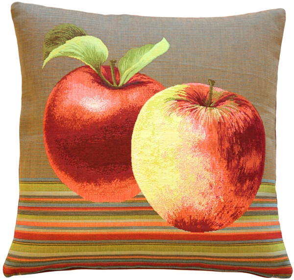Fresh Apples on Brown 19x19 Throw Pillow