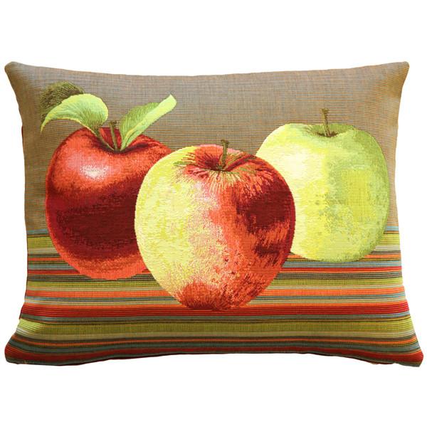 Fresh Apples on Brown Rectangular Throw Pillow