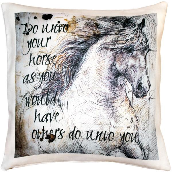 Do Unto Your Horse Stallion Throw Pillow
