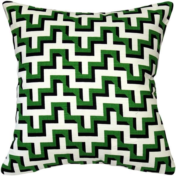 Emerald Black Zig Zag Throw Pillow 16x16