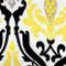 Linen Damask Print Yellow Black 18x18 Throw Pillow